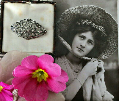 French Antique Art Nouveau Sterling Silver Marcasite Brooch Pin Bridal Jewellery