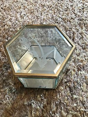 Vintage Etched Beveled All Glass Brass Hexagon Jewelry Display Box Mirrored