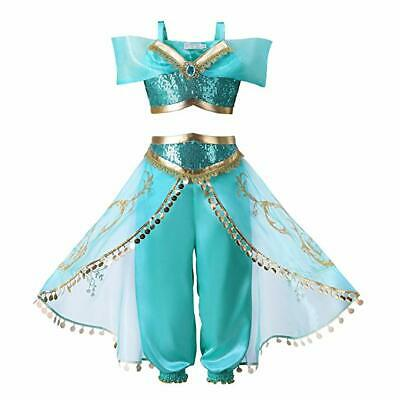 Girl Halloween Jasmine Princess Cosplay Dress Dance Theatre Costume Twopiece set