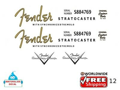 Fender Stratocaster Guitar Decal Headstock Inlay Decal Restoration Logo 12