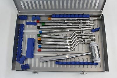 NEW Sinus Lift Osteotomes Kit w 10 Concave Tips Mead Mallet Dental Cassette
