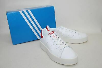 buy online 14c3d 2610c ADIDAS Ladies White  Red Leather Stan Smith Bold Trainers Shoes UK4.5 BNIB