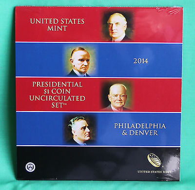 2014 Presidential $1 Coin Uncirculated Set 8 Golden BU Dollars US Mint SEALED