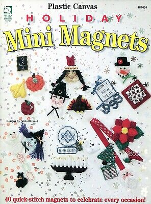 Holiday Mini Magnets ~ 40 Fridgies Motifs plastic canvas pattern booklet NEW