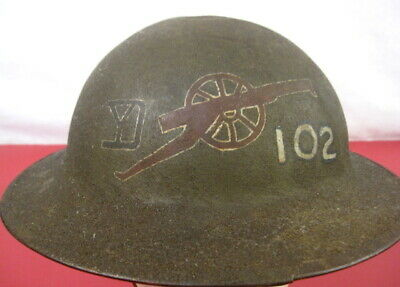 WWI US Army AEF M1917 Helmet w/Liner Hand Painted - 26th Inf Div, 102nd FA Rgt