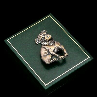 Antique Vintage Art Deco Sterling Silver Plated Figural Dog Terrier Pin Brooch