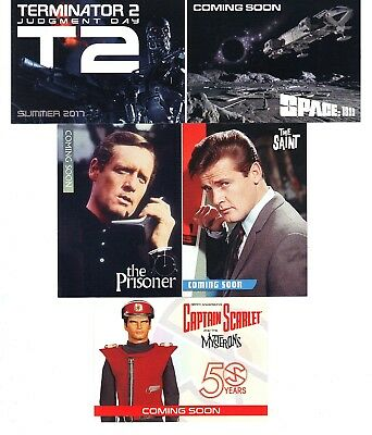 PROMO CARDS 2017 Unstoppable - T2 Saint Prisoner Space 1999 etc - 5-card set