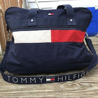 Vintage Tommy Hilfiger Duffle Beach Gym Bag Big Flag Spell Out Duffel Travel  90s dc0745570aa0c
