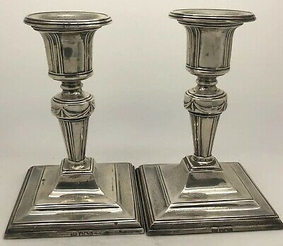 """1863 Harrison Brothers & Howson Sterling Silver 5"""" Pillar Candlesticks 14.5 ozt"""