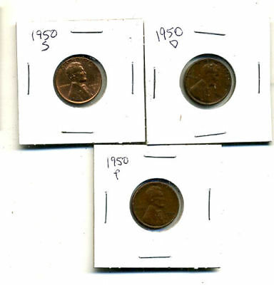1950 P,d,s Wheat Pennies Lincoln Cents Circulated 2X2 Flips 3 Coin Pds Set#4470