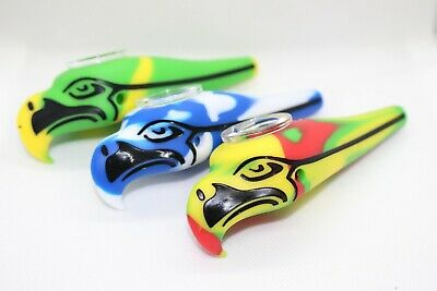 """4"""" Eagle Silicon Hand Pipe Smoking Hand Pipe w/Glass Bowl Assorted Colors"""