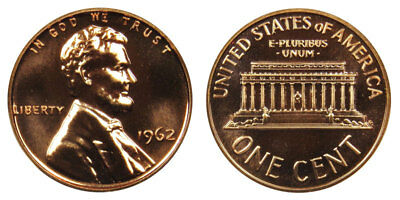 1962 GEM BU PROOF Lincoln MemoriaL BRILLIANT UNCIRCULATED PENNY US COIN PF