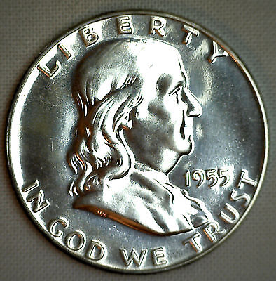 1955 Silver Franklin Silver Proof Half Dollar Coin 50c Fifty Cents