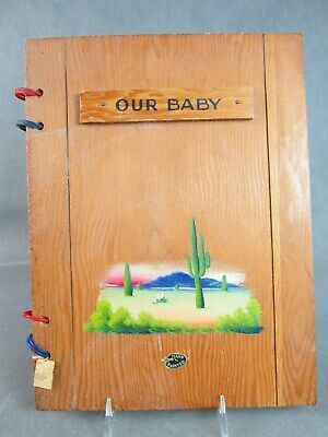 c1940s TEXAS Meyer Pottery Style Decoration Wooden BABY BOOK~~Unused