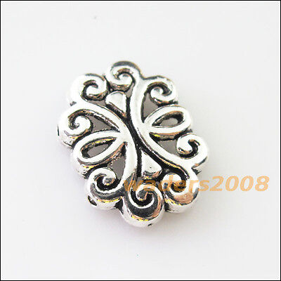 24//72pcs Tibetan Silver Oval Heart Charm Crafts Loose Spacer Beads 6x6.5mm