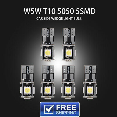 6Pcs T10 Led White Car Side Wedge light Bulb 5 SMD 168 194 W5W Canbus Error Free
