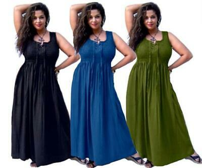 Bohemian Maxi Dress - Smocked Lacing Empire Waist - LotusTraders R373 Plus Size