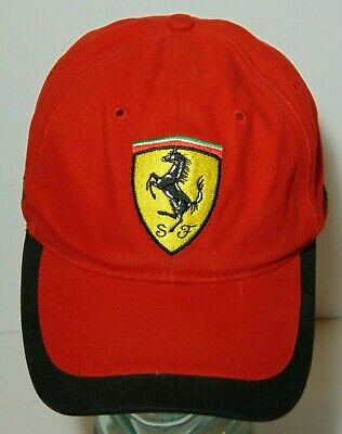 8cc9f6aa29e04 Official Ferrari Racing Red   Black Classic Adjustable Hat Embroidered  Strapback
