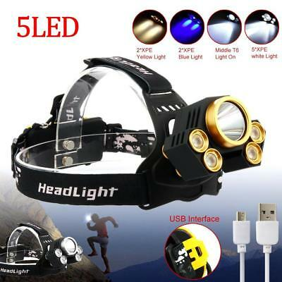 X-XML T6 5X LED Headlamp Flashlight 90000 Lm Focus Head Light Torch Lamp DA
