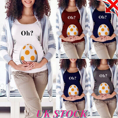 Womens Funny Pregnancy T Shirt Blouse Ladies Maternity Short Sleeve Summer Tops