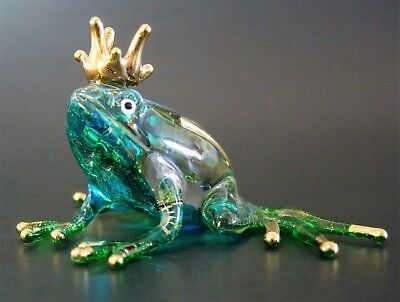 Glass TOAD FROG PRINCE Turquoise Glittered Glass Animal Glass Ornament Figure