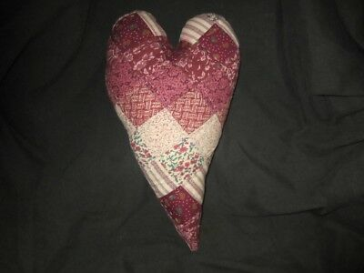 Primitive quilted  heart - large - barn red - 30a