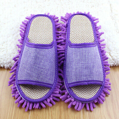 1pair Convenient Absorbent Wipe Slippers Washable Lazy Mop The Floor Shoes F7G4C