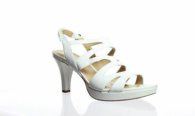 79f360857497 Naturalizer Womens Pressley White Ankle Strap Heels Size 7.5 (61446)