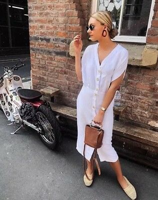 3f9da618f1 BNWT Zara Trf White Linen Button Through Shirt Dress Blogger XS 8
