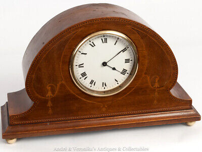 Edwardian Mahogany MANTEL CLOCK, French Platform Movement, 8 Day Inlay Marquetry