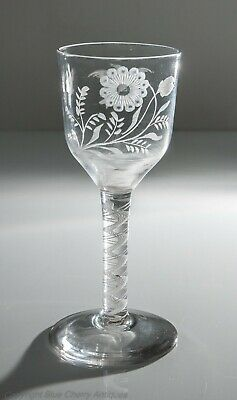 Antique Georgian Opaque Twist Stem Wine Glass Goblet with Jacobite Symbology