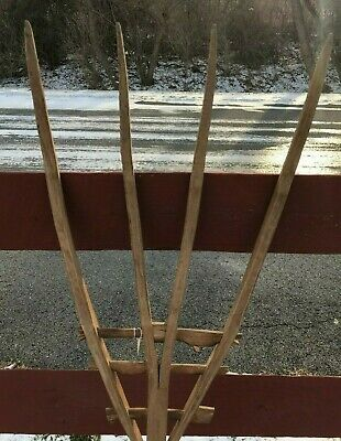 Antique Wooden Pitchfork Hand Made Farm Tool Vintage Hay Fork Country 58