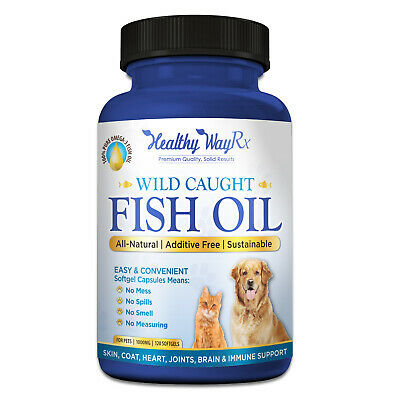PURE Omega 3 Wild Caught Fish Oil for Dogs & Cats EPA DHA, Higher in Omega 3 Fat