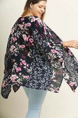 fa36849db34 New Umgee Boho Multi Floral Open Front Bell Sleeve Kimono with Side Slits  XL 1XL