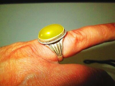 PERSIA: Vintage Islamic Sterling Silver Yellow Agate Ring A BEAUTY!