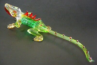 Blown Glass FRILLED LIZARD Green Glass Animal Reptile Curio Glass Ornament Gift