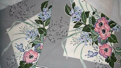 Vintage 50's Gray Pink White Lavender Green Floral Butterflies Tablecloth 53x48
