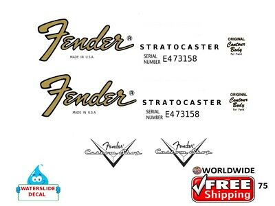 Fender Stratocaster Guitar Decal Headstock Inlay Restoration Logo 75