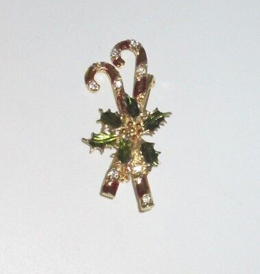 Vintage VANTE Signed Christmas Candy Cane Rhinestone Pin Brooch Holiday Bin8