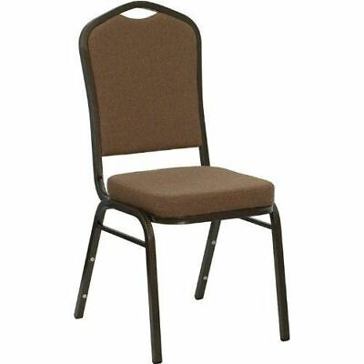 10 PACK Banquet Chair Coffee Fabric Restaurant Chair Crown Back Stacking Chair