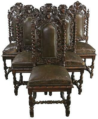 Dining Chairs Antique French Hunting Renaissance 1880 Carved Oak Leather Set 6