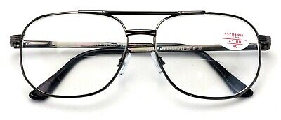 24b4a5a9c82 Bifocal Metal Aviator Reading Glasses Big Lens Spring Hinge Square Clear  Reader