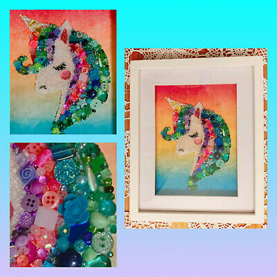 Unicorn Bead Art With Swarovski Crystal Beads - Shadow Box - Gorgeous Handmade