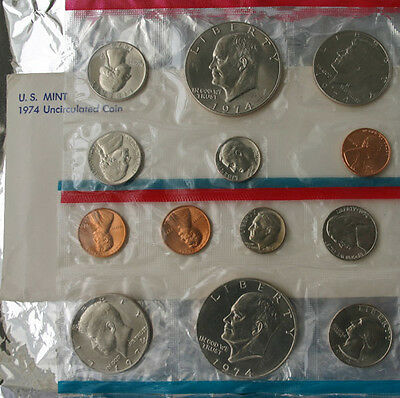 1974 P and D US Mint ANNUAL Uncirculated 13 Coin Set BU Coins and Envelope