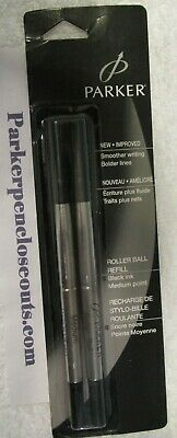 NEW Parker Genuine Rollerball Refills Black ink 2 Pack Made in the UK