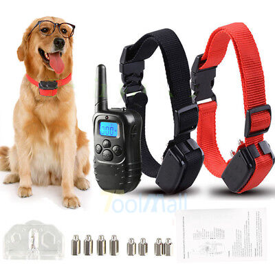 2019 4Modes Waterproof 120m 2 Dog Shock Training Collar Pet Trainer + LCD Remote