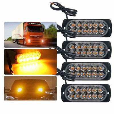 4X 12-24V Amber Recovery Car Strobe 12Led Lights Grill Breakdown Flashing In9