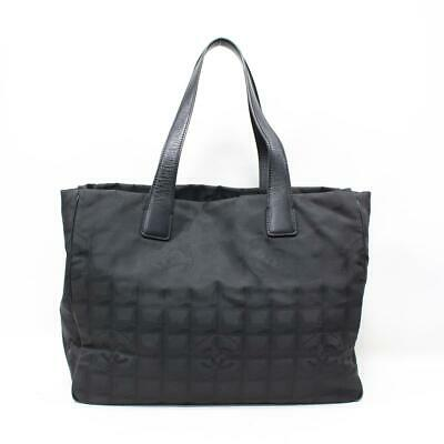 c20509aa32f Authentic CHANEL New Travel Line MM Tote Bag Nylon Jacquard x Leather Black  Used