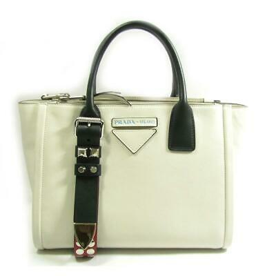 67136f6ab7f4ce PRADA Grace Lux Concept shoulder hand bag 1BA175 leather White/Black Vintage