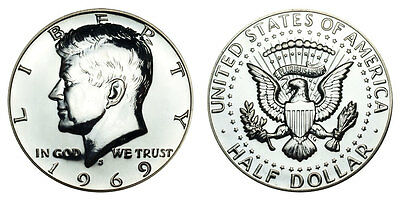 Silver 1969 S Kennedy Half Dollar Proof Gem Uncirculated 50 Cent Jfk Coin Pf
